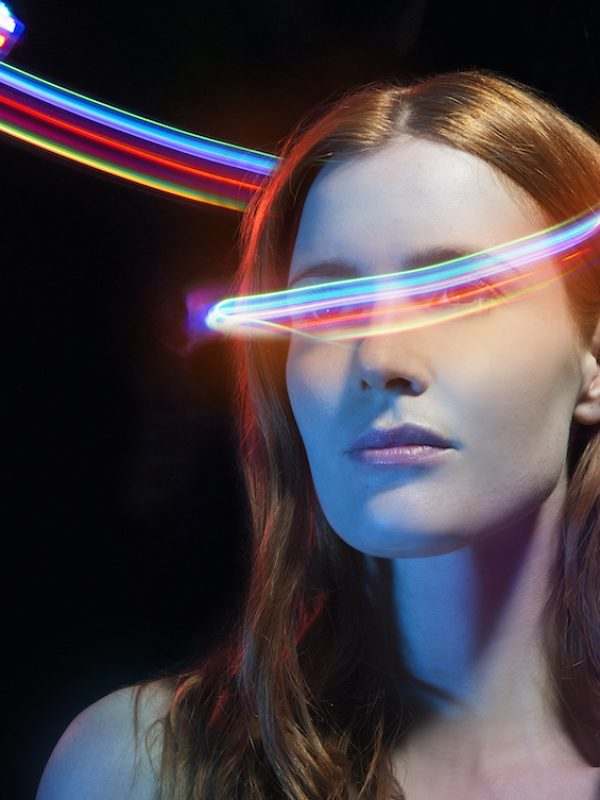 portrait of woman with light trails